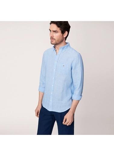Gant Düz Slim Gömlek Mavi